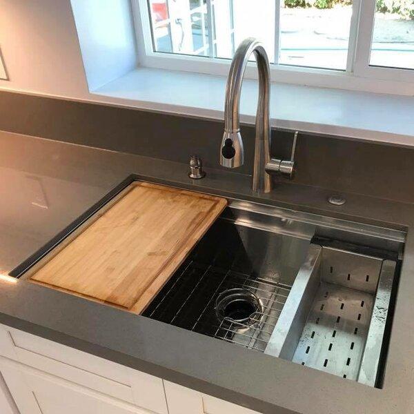 32 x 20 Undermount Kitchen Sink with Sliding Cutting Board and Colander