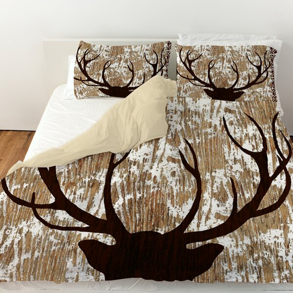 Printed Deer Horn Duvet Cover by East Urban Home