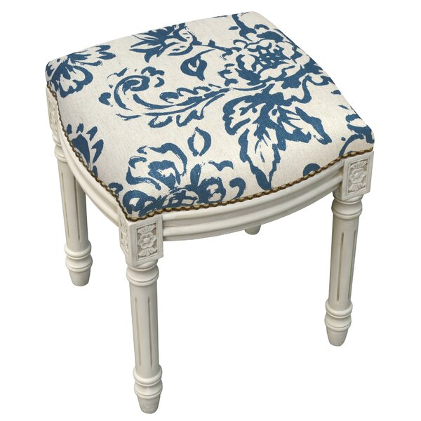 Amalda Toile Linen Upholstered Vanity Stool with Nailhead by One Allium Way