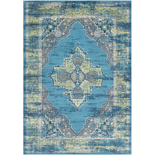 Sharpes Teal/Lime Area Rug by Bungalow Rose