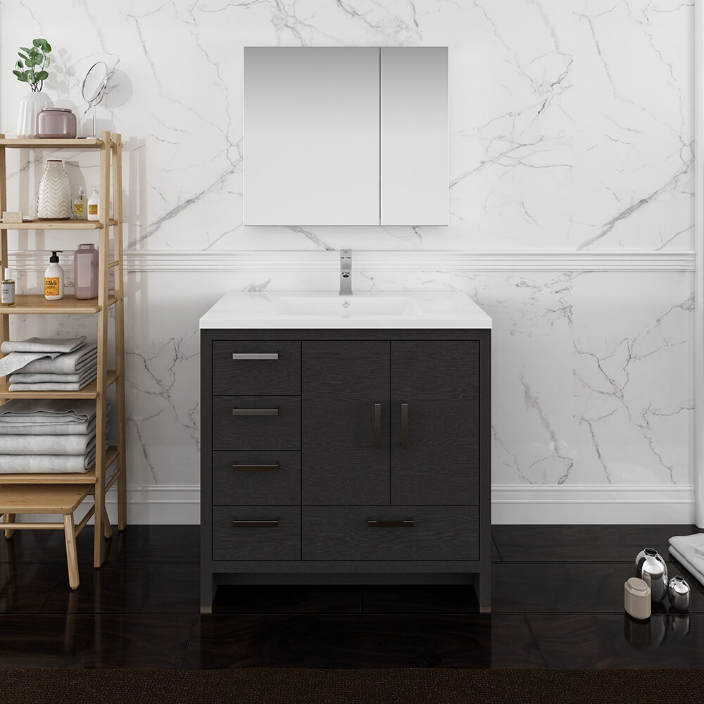 "Senza Tuscany 12"" Single Bathroom Vanity Set with Medicine Cabinet"