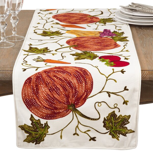 Kapitz Embroidered Pumpkin Harvest Thanksgiving Cotton Table Runner by August Grove
