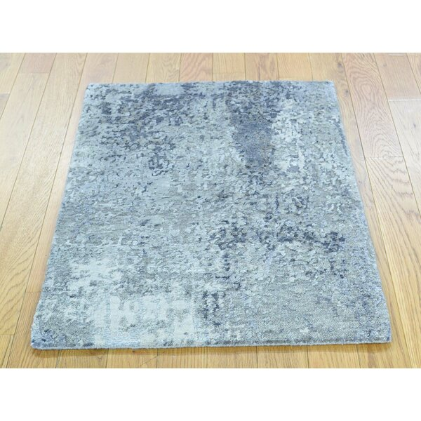 One-of-a-Kind Caywood Abstract Design Handwoven Wool/Silk Area Rug by Isabelline