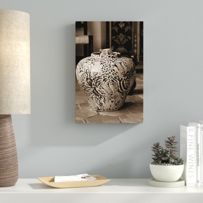 Latitude Run Cat In Vase Sepia Photographic Print On Wrapped Canvas