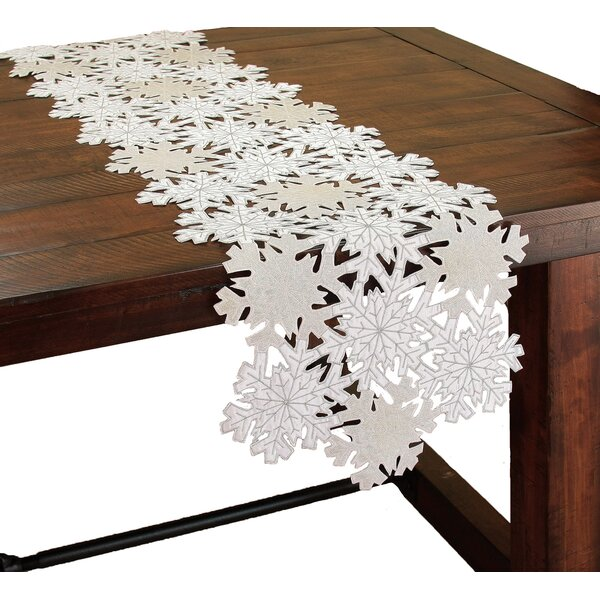Shimmer Snowflake Embroidered Cutwork Table Runner by The Holiday Aisle