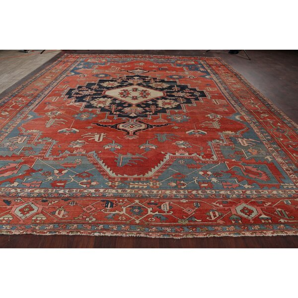 One-of-a-Kind Hand-Knotted 1900s Heriz Rust 11'11 x 15'7 Wool Area Rug