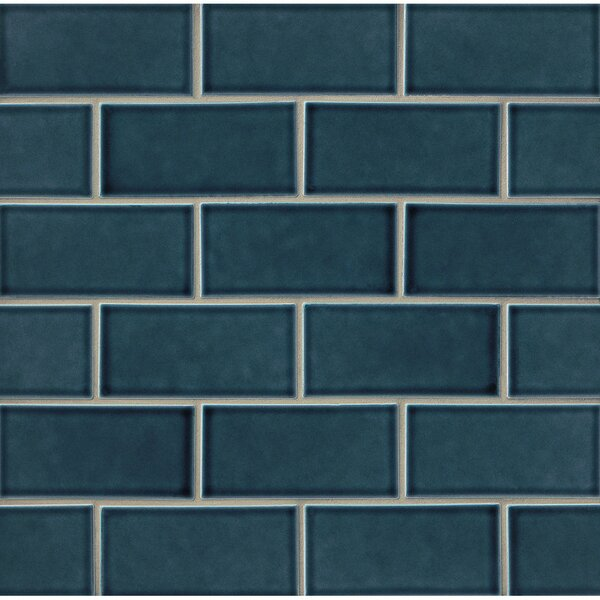 Park Place 3 x 6 Ceramic Subway Tile in Dark Blue by Grayson Martin