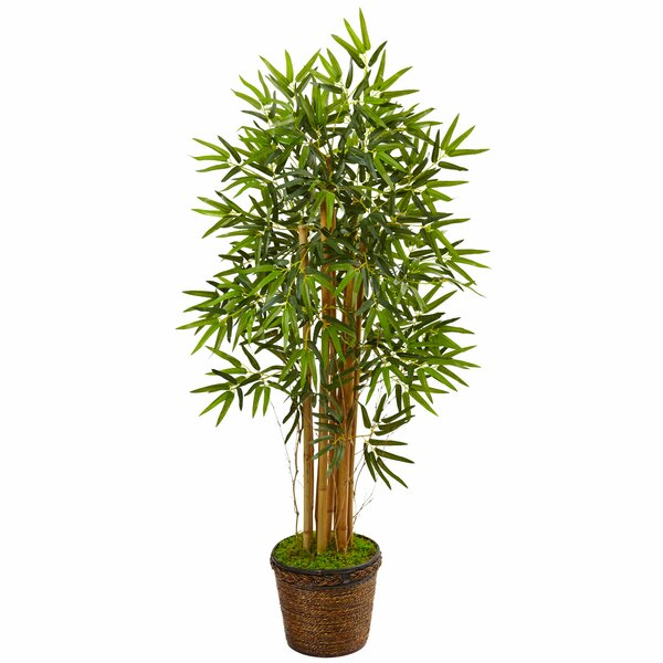 Artificial Floor Thick Bamboo Tree in Planter by Bloomsbury Market