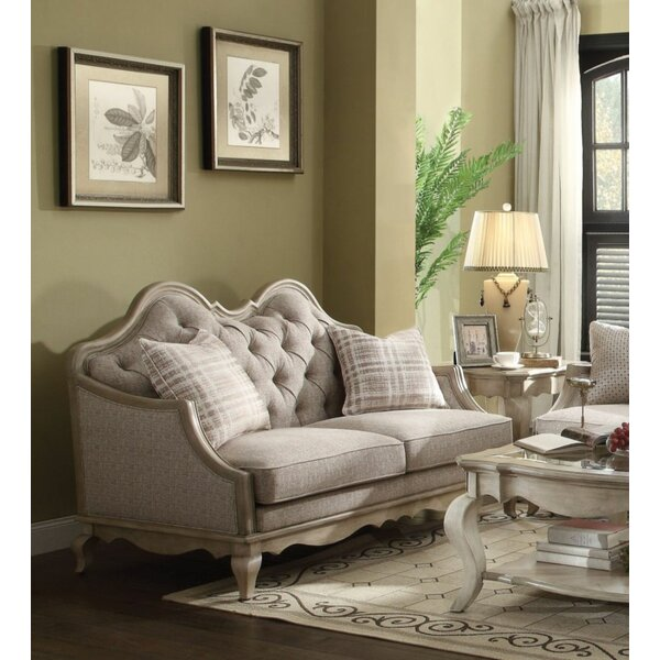 Review Beige Fabric And Antique Taupe Loveseat With 2 Pillows