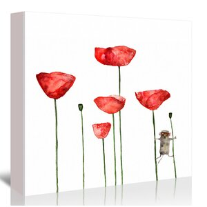 'Poppies Flowers Mouse' Watercolor Graphic Art Print on Canvas by East Urban Home
