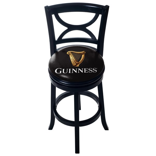 Guinness Wood Swivel Bar Stool with Back by Trademark Global