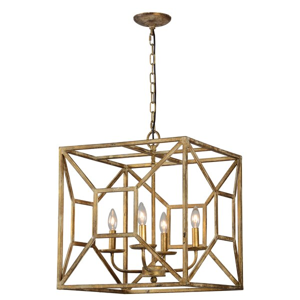 Soleil 4 - Light Candle Style Square / Rectangle Chandelier By Mercer41