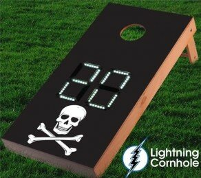 Electronic Scoring Skull and Crossbones Cornhole Board by Lightning Cornhole