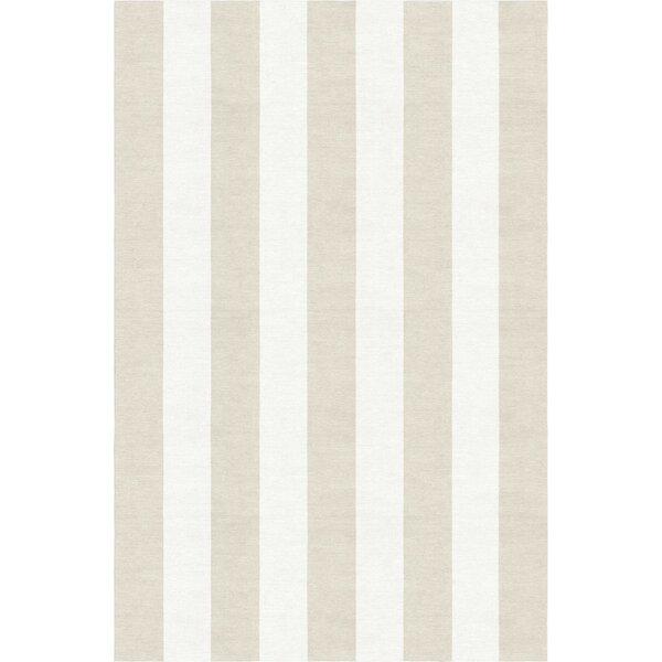 Wasson Stripe Hand-Woven Wool Silver/White Area Rug by Breakwater Bay