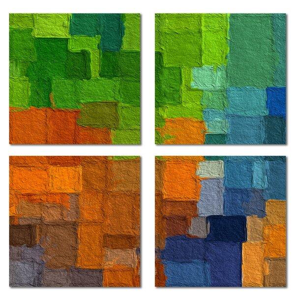 Custom 6 x 6 Beveled Glass Field Tile in Orange/Green by Upscale Designs by EMA