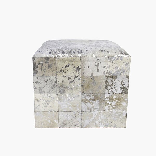 Forest Leather Cube Ottoman by Pasargad