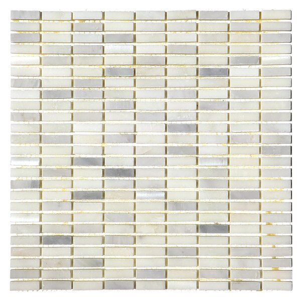 0.4 x 1.25 Marble Mosaic Tile in White Statuary by Luxsurface
