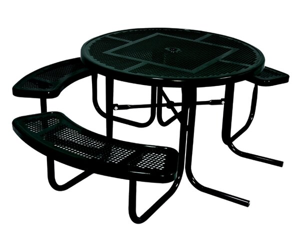 3-Seat ADA Round Picnic Table with Perforated Pattern by Ultra Play