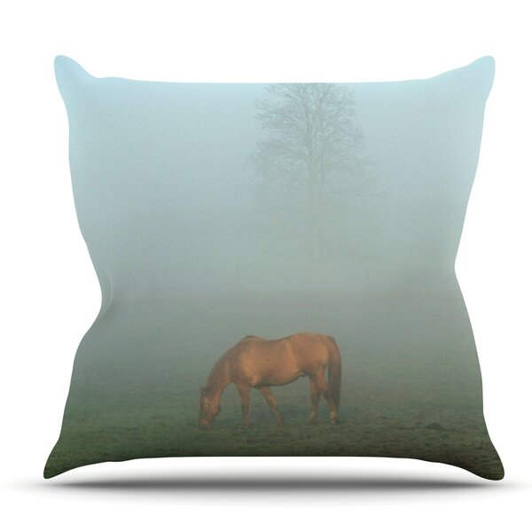 Horse in Fog by Angie Turner Outdoor Throw Pillow by East Urban Home