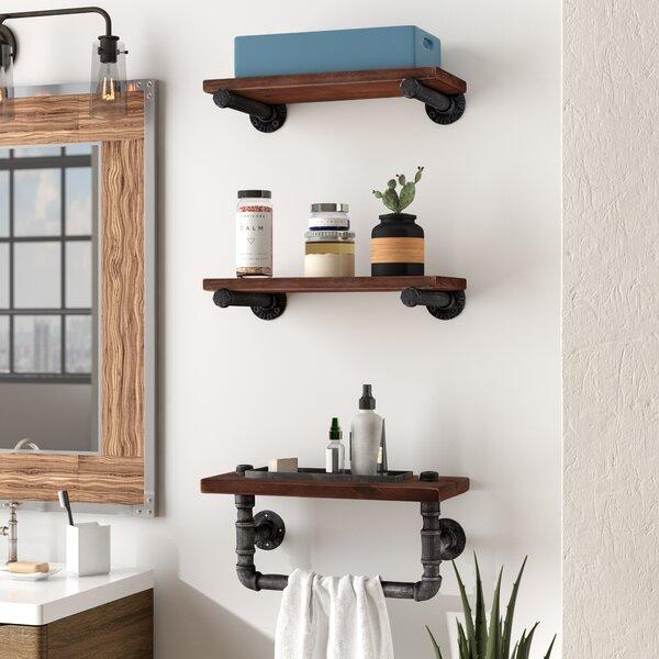 Industrial Walnut Wood Floating Wall Shelf by Trent Austin Design