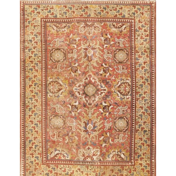 One-of-a-Kind Hand-Knotted Before 1900 Kuba Blossom Red/Brown 6'9 x 9'5 Wool Area Rug