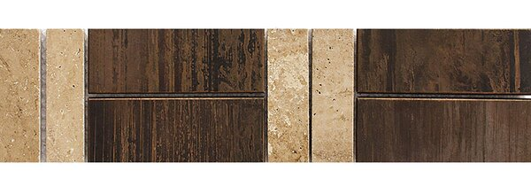 Mexicali 12 x 3 Travertine Border Accent Tile in Copper by Parvatile