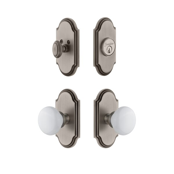 Arc Single Cylinder Knob Combo Pack with Hyde Park Knob by Grandeur