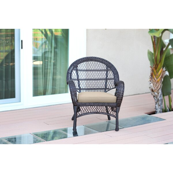 Wicker Armchair Chair with Cushions (Set of 4) by Jeco Inc.