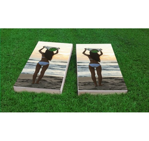 Bikini Surfer Girl on the Beach Cornhole Game Set by Custom Cornhole Boards