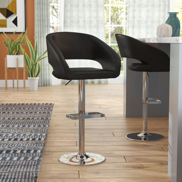 Biggerstaff Adjustable Height Swivel Bar Stool by Orren Ellis
