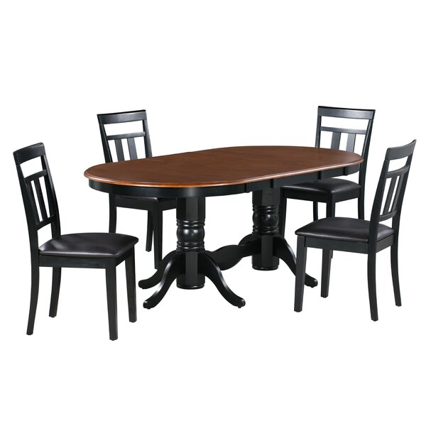 Gannon 5 Piece Extendable Solid Wood Dining Set by Alcott Hill