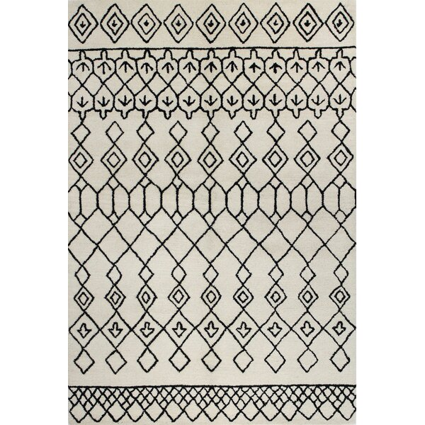 Divina Handmade Wool Ivory/Black Area Rug by Brayden Studio
