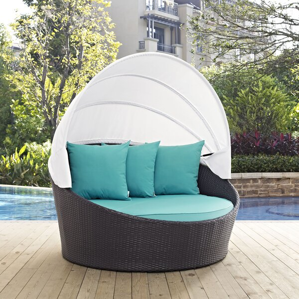 Ryele Canopy Outdoor Patio Daybed with Cushions by Latitude Run
