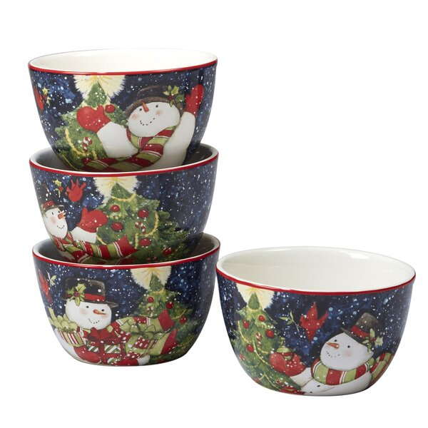 Delilah Snowman 4 Piece 24 oz. Dessert Bowl Set by The Holiday Aisle