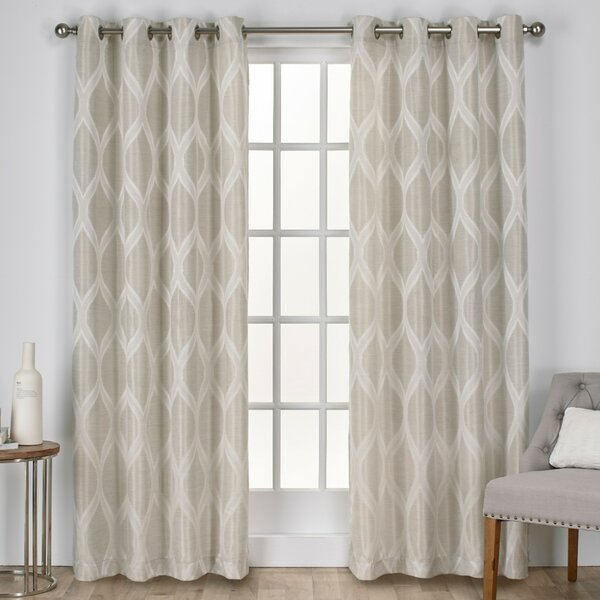 Quinton Geometric Room Darkening Grommet Curtain Panels (Set of 2) by Langley Street
