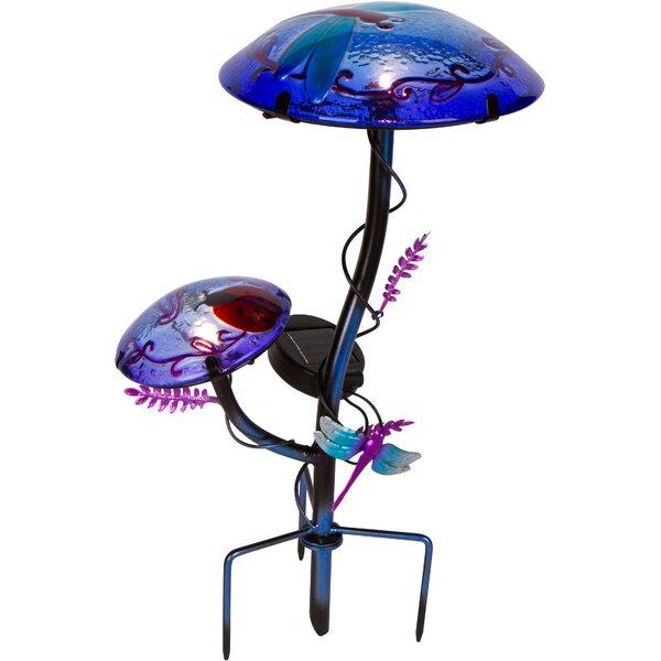 Solar Mushroom Garden Stake with Butterfly Design by Trademark Innovations