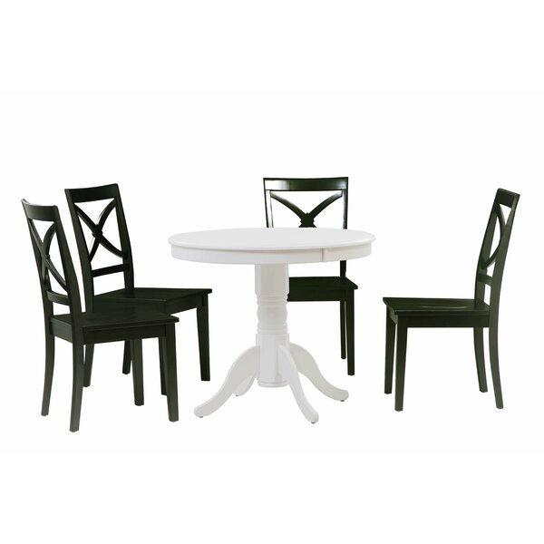 Reichel 5 Piece Solid Wood Dining Set by Charlton Home