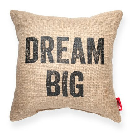 Expressive Dream Big Decorative Burlap Throw Pillow by Posh365
