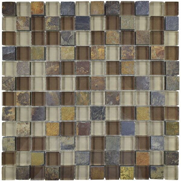 Sierra 0.88 x 0.88 Glass and Natural Stone Mosaic Tile in Brown/Gray by EliteTile