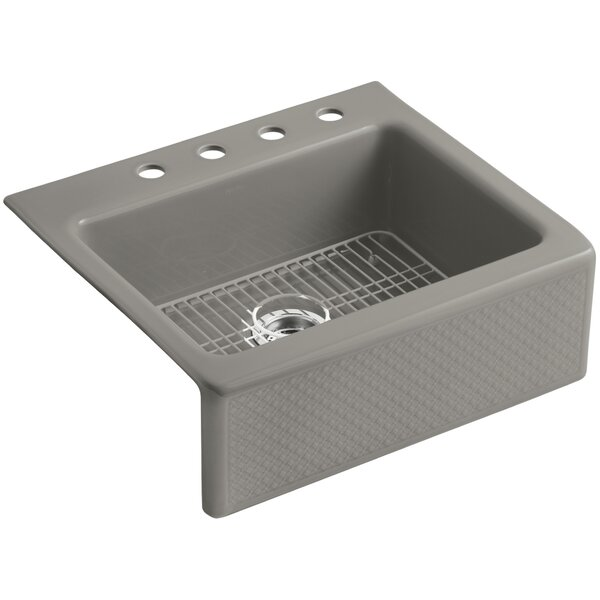 Evenweave Design On Alcott 25 x 22 x 8-5/8 Tile-In Kitchen Sink with 4 Faucet Holes by Kohler