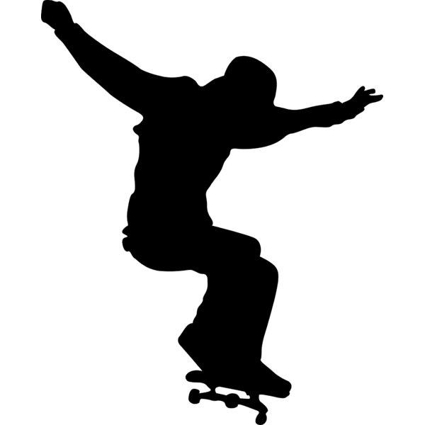 Skateboard Silhouette II Cutout Wall Decal by Wallhogs