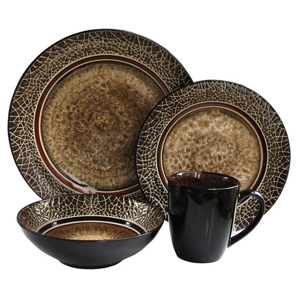 Markham 16 Piece Dinnerware Set, Service for 4 by Accents by Jay