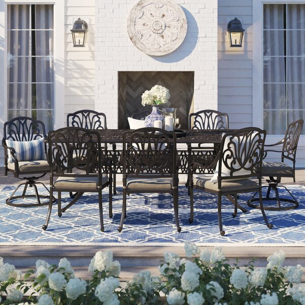 Lebanon 9 Piece Dining Set with Cushions by Three Posts