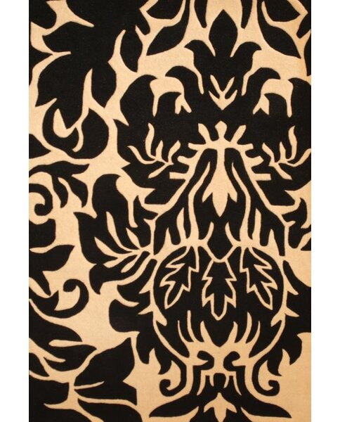 Hand-Tufted Black/Ivory Area Rug by Herat Oriental