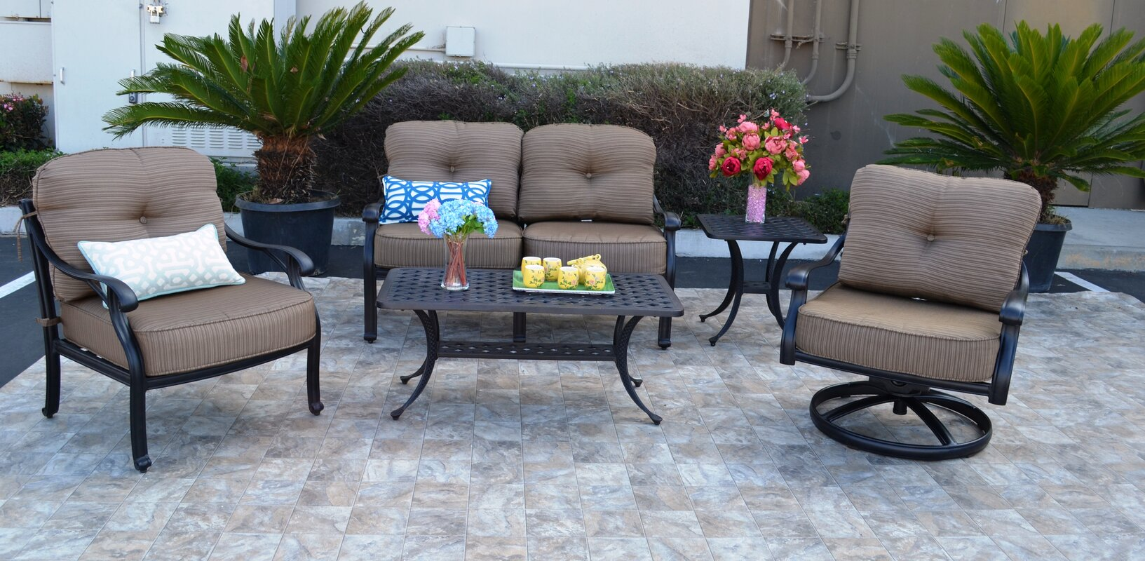 Best Nola 5 Piece Sofa Set With Cushions By Darby Home Co