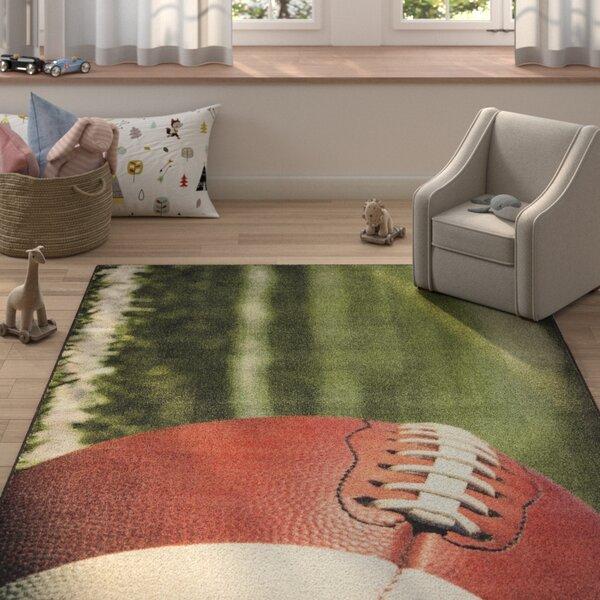 Engler Football Field Green/Brown Area Rug by Zoomie Kids