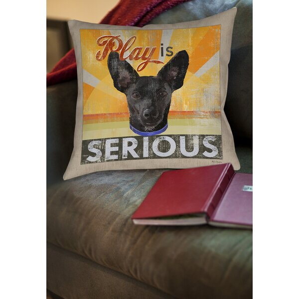 Dog Days - Little Black Pup Printed Throw Pillow by Manual Woodworkers & Weavers
