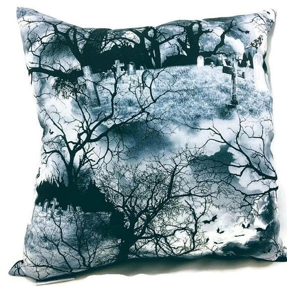 Haunted Graveyard Throw Pillow by East Urban Home
