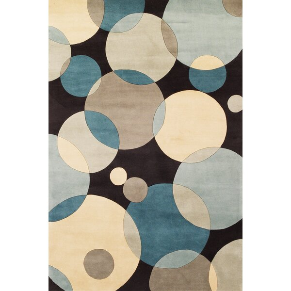 Rita Hand-Tufted Blue/Black/Beige Area Rug by Wrought Studio