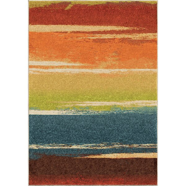 Hobart Orange/Red Area Rug by Threadbind